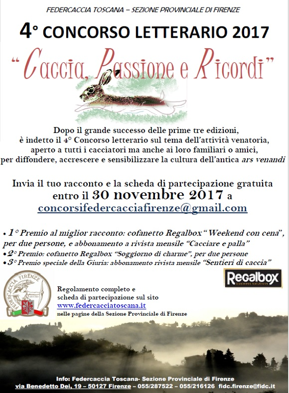 30/11/2017 (scadenza) 4° Concorso letterario Caccia Passioni Ricordi ...